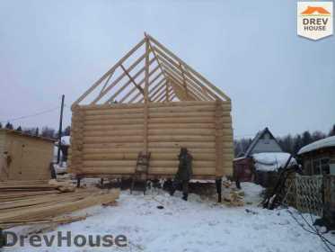 Строительство сруба дома из бревна в деревне Авдотьино   фаза 9