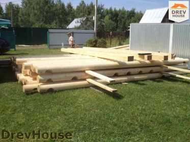 Строительство сруба дома из бревна в поселке Пущино   фаза 1
