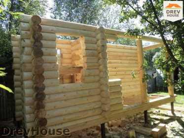Строительство сруба дома из бревна в поселке Пущино   фаза 11