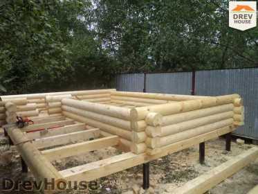 Строительство сруба дома из бревна в поселке Пущино   фаза 4