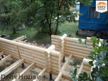 Строительство сруба дома из бревна в поселке Пущино   фаза 7
