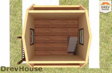 Вид изнутри 2 этажа проекта бани с мансардой из бруса «Прато» 5х5