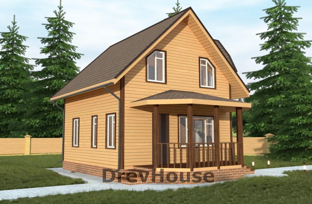 Главное фото проекта полутораэтажного дома из бруса ДБ-16