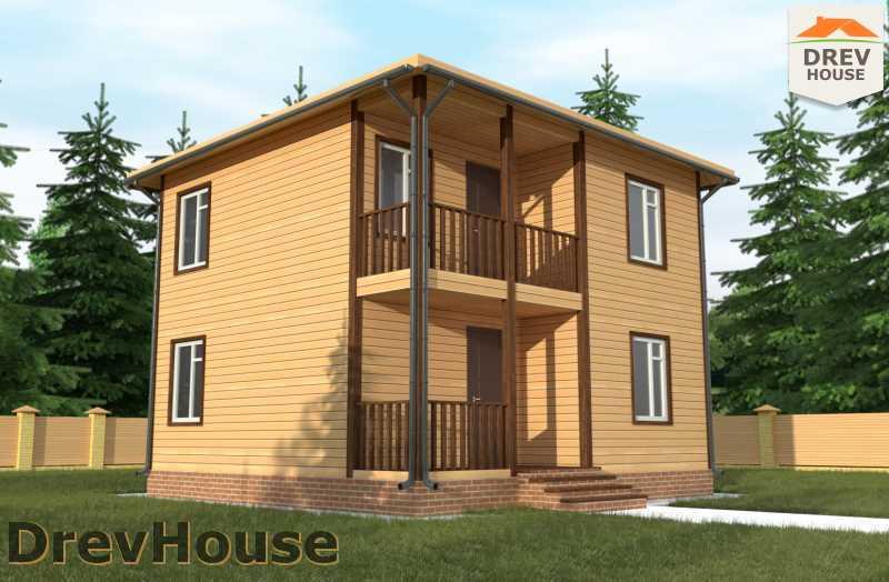 Главное фото проекта двухэтажного дома из бруса ДБ 59