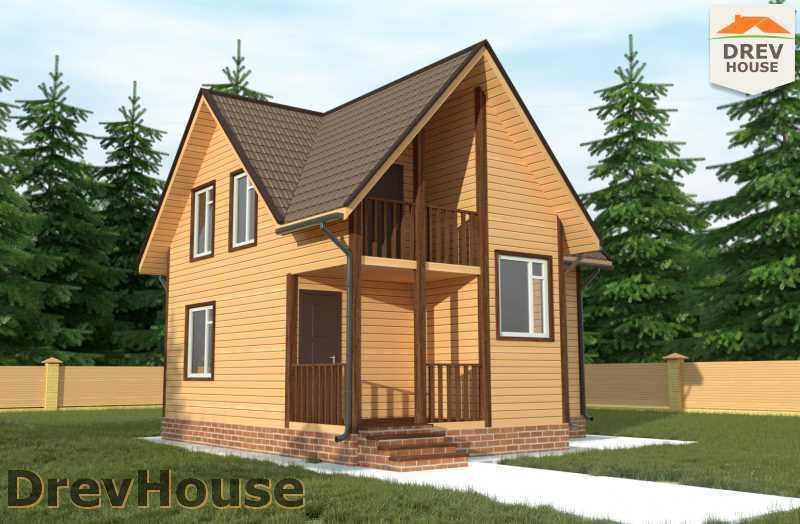 Главное фото проекта полутораэтажного дома из бруса ДБ 67