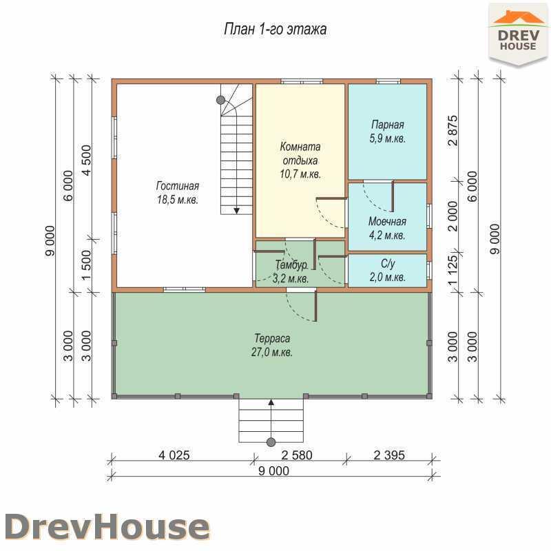 План 1 этажа дома из бруса с мансардой ДБ-61