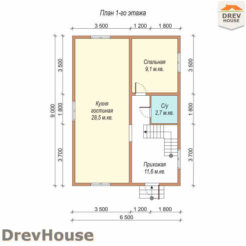 План 1 этажа дома из бруса с мансардой ДБ-64