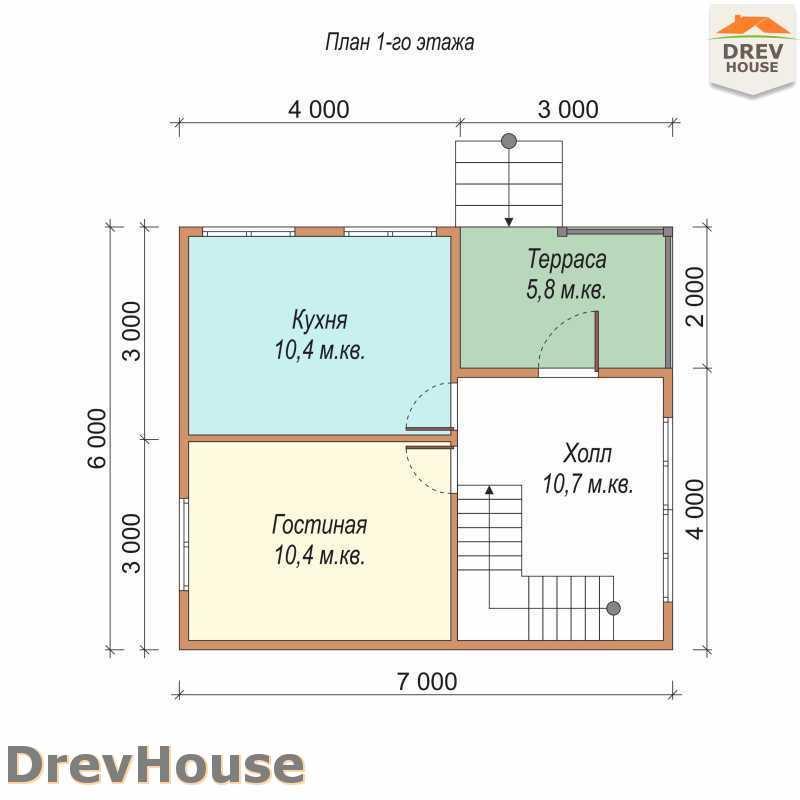 План 1 этажа дома из бруса с мансардой ДБ-66
