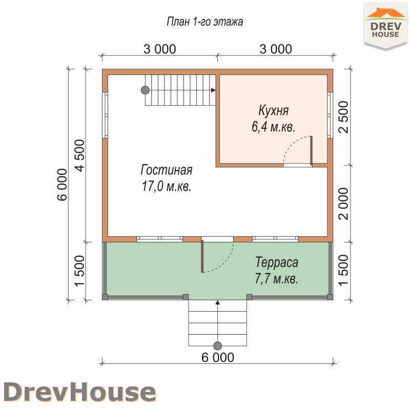 План 1 этажа дома из бруса с мансардой ДБ-68