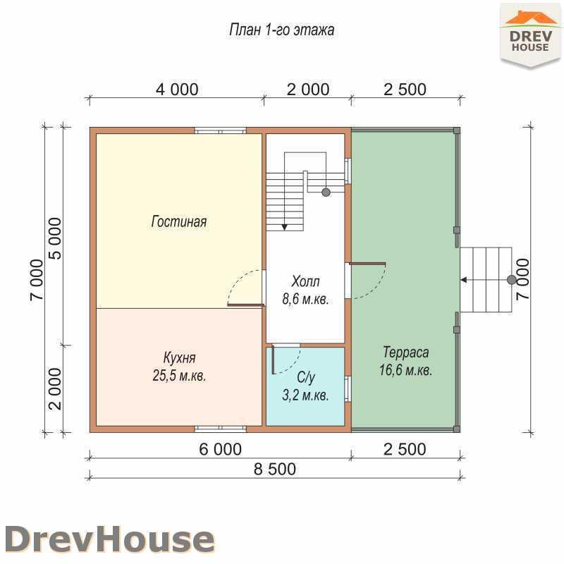 План 1 этажа дома из бруса с мансардой ДБ-69
