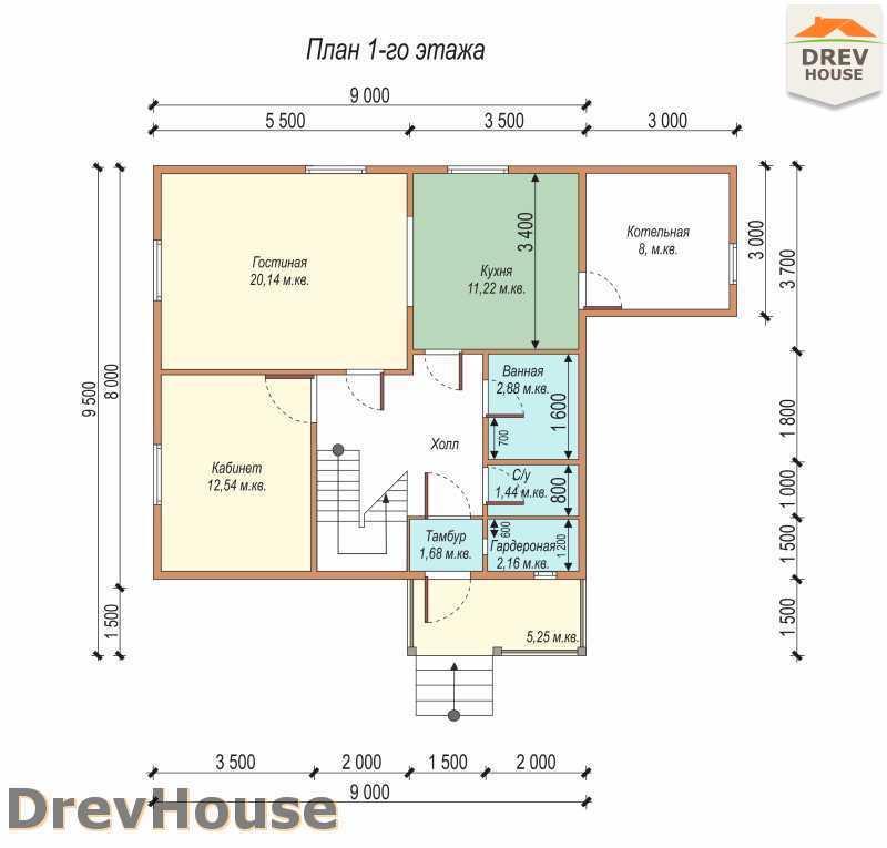 План 1 этажа дома из бруса с мансардой ДБ-72