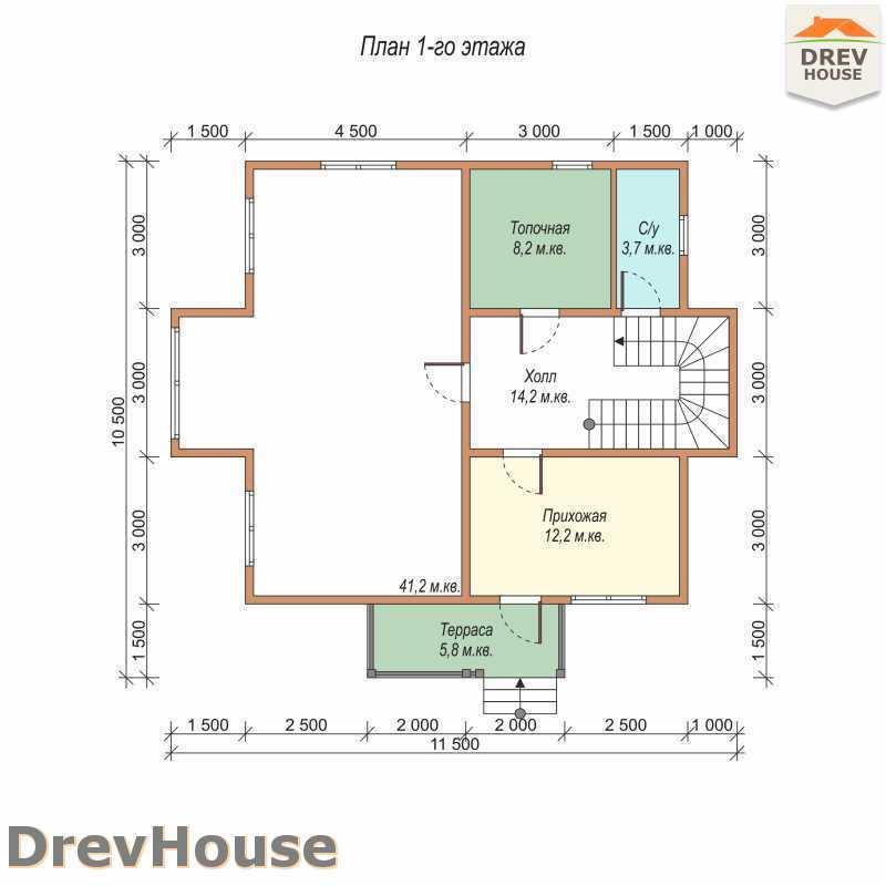 План 1 этажа двухэтажного дома из бруса ДБ-57