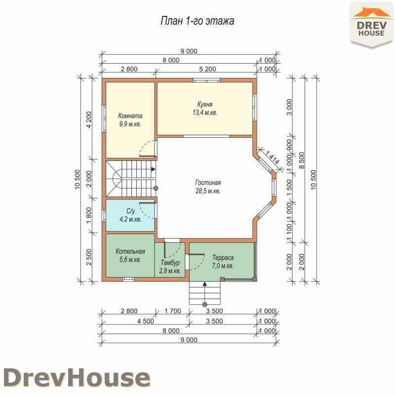 План 1 этажа двухэтажного дома из бруса ДБ-58