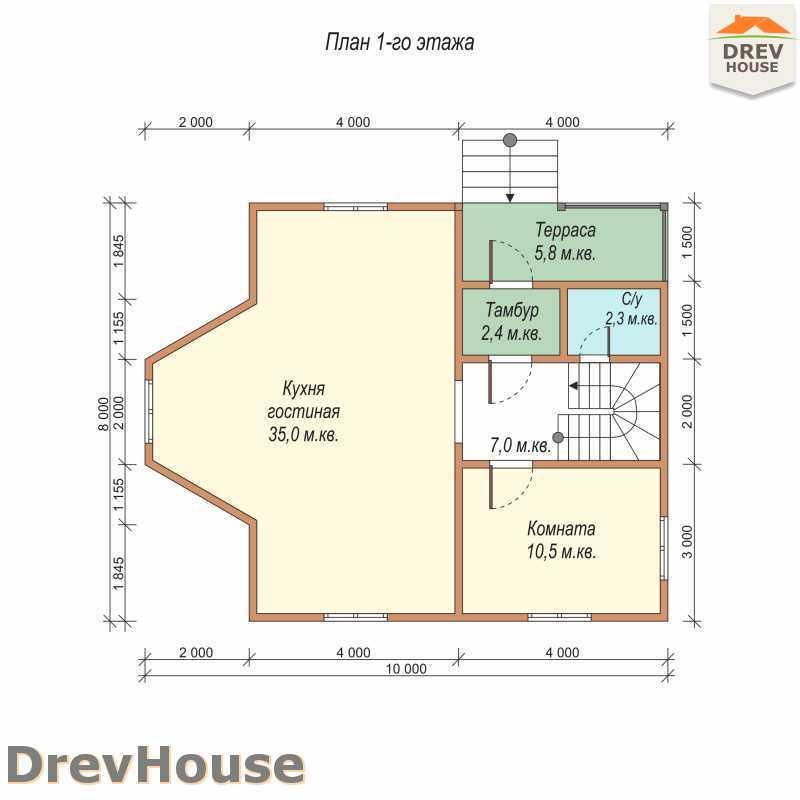 План 1 этажа двухэтажного дома из бруса ДБ-59
