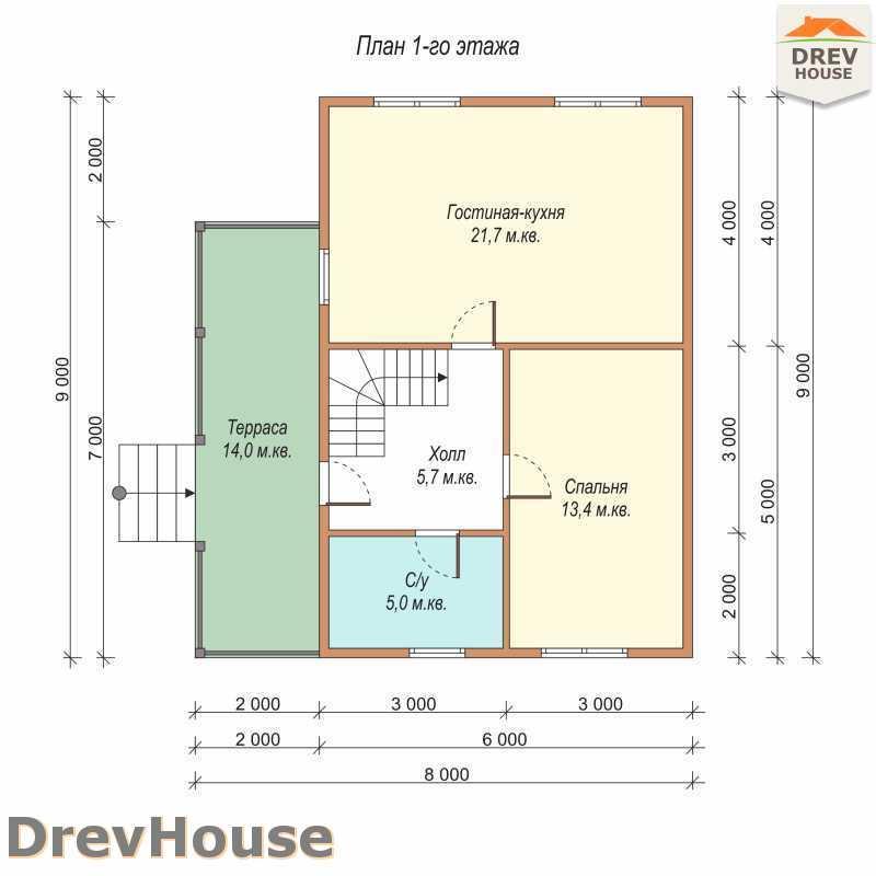 План 1 этажа полутораэтажного дома из бруса ДБ-60