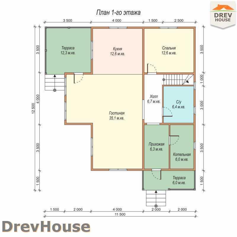 План 1 этажа полутораэтажного дома из бруса ДБ-62