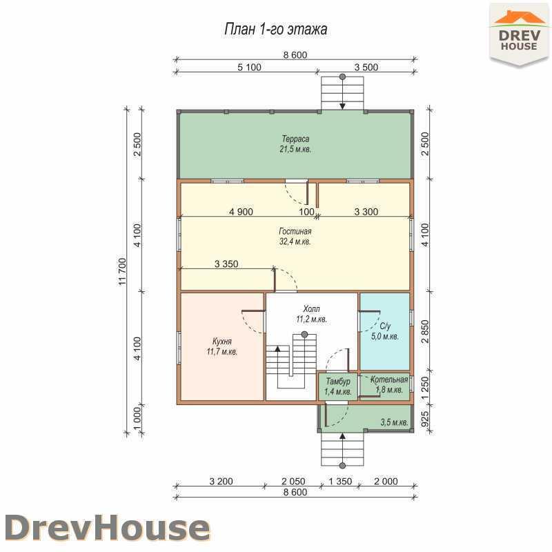 План 1 этажа полутораэтажного дома из бруса ДБ-63