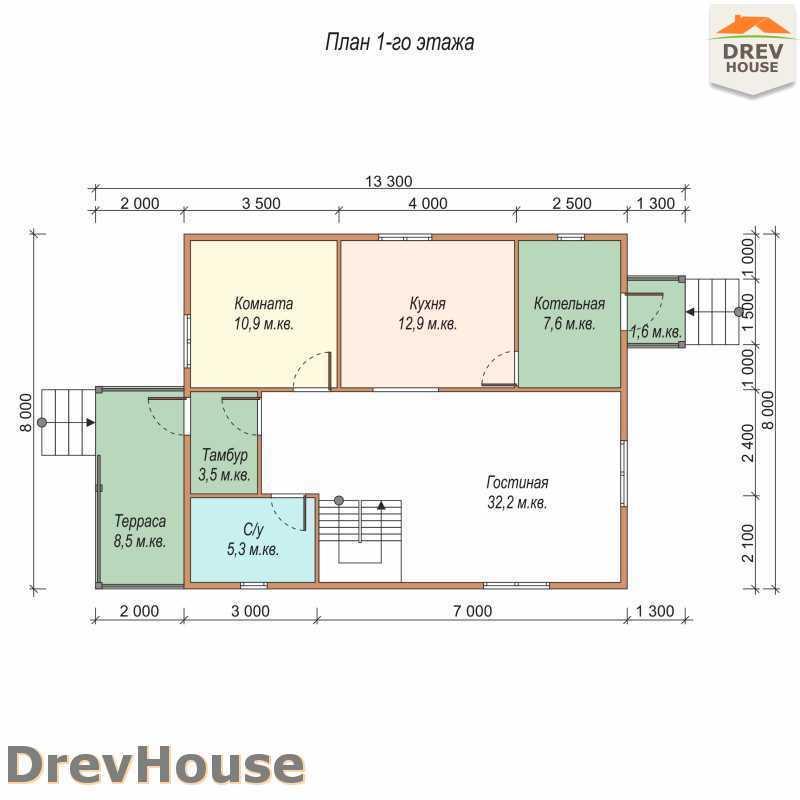 План 1 этажа дома из бруса с мансардой ДБ-65