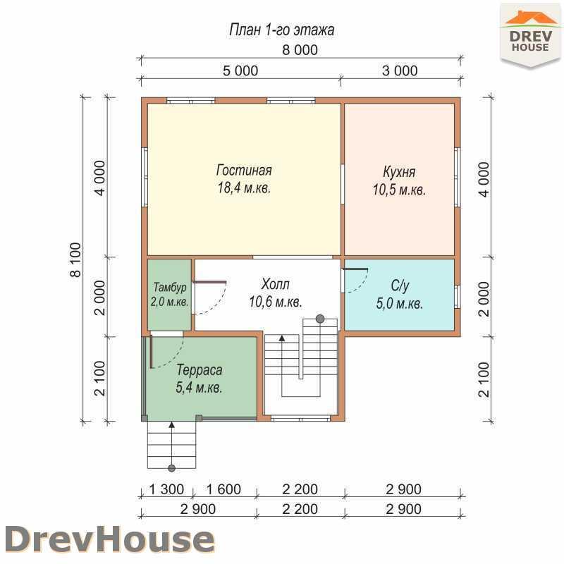 План 1 этажа полутораэтажного дома из бруса ДБ-67