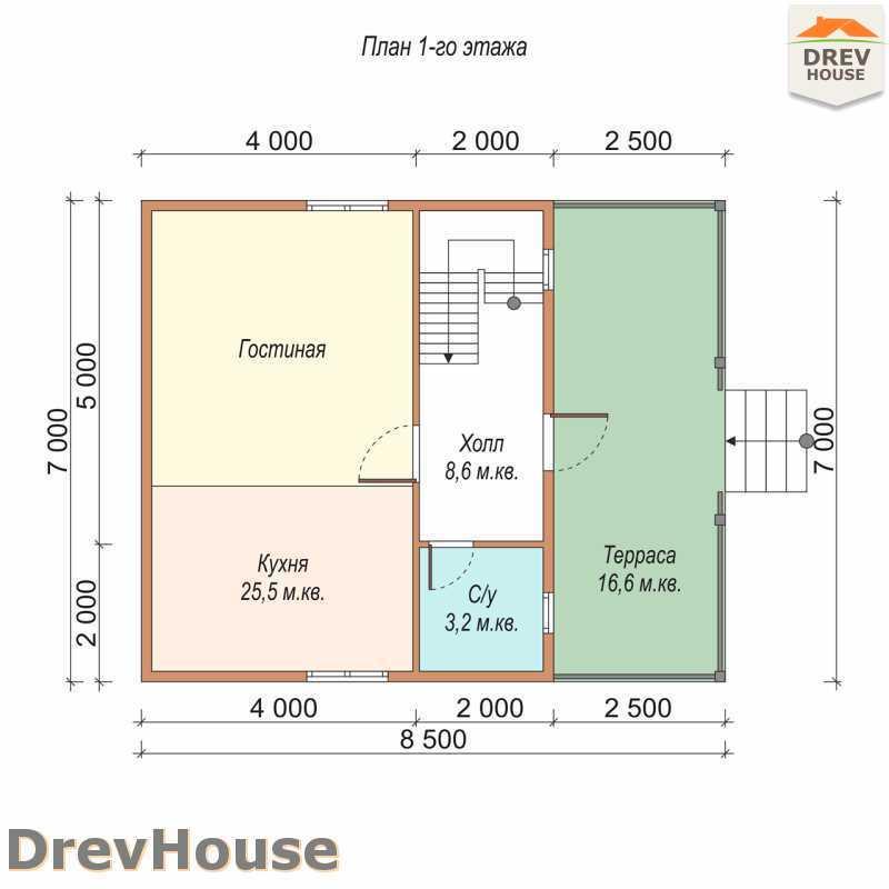 План 1 этажа полутораэтажного дома из бруса ДБ-70