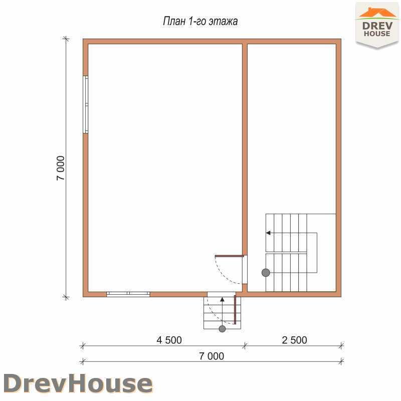 План 1 этажа полутораэтажного дома из бруса ДБ-71