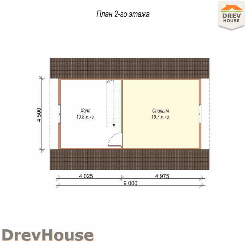 План 2 этажа дома из бруса с мансардой ДБ-61