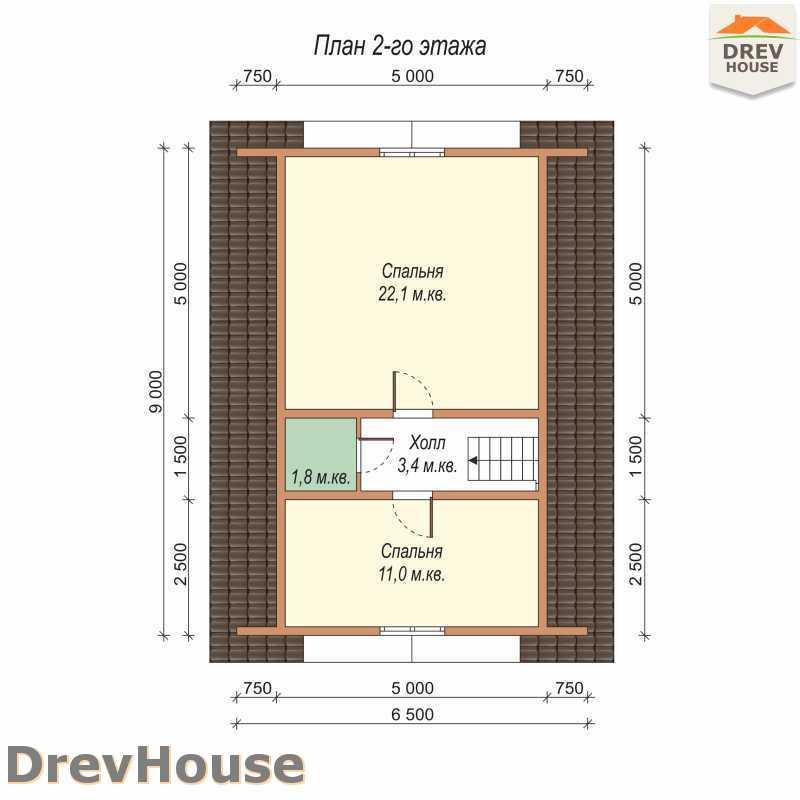 План 2 этажа дома из бруса с мансардой ДБ-64