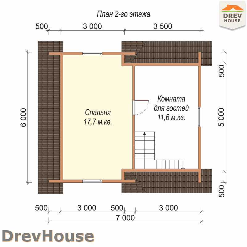 План 2 этажа дома из бруса с мансардой ДБ-66