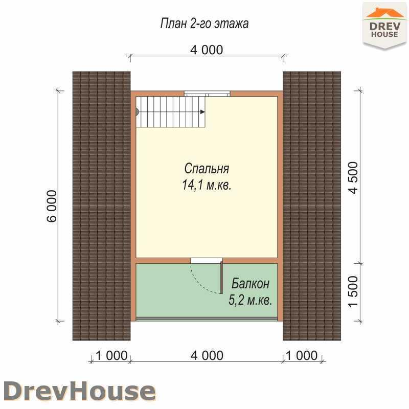 План 2 этажа дома из бруса с мансардой ДБ-68