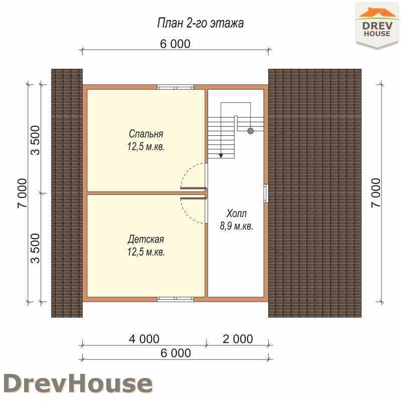 План 2 этажа дома из бруса с мансардой ДБ-69