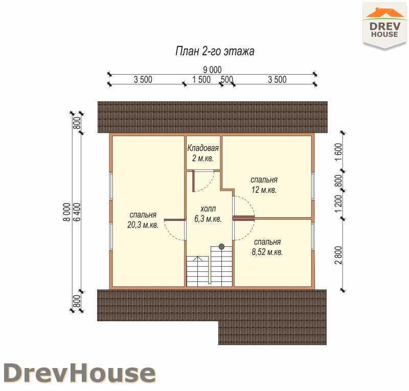 План 2 этажа дома из бруса с мансардой ДБ-72