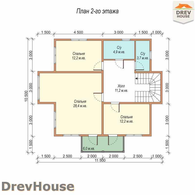 План 2 этажа двухэтажного дома из бруса ДБ-57