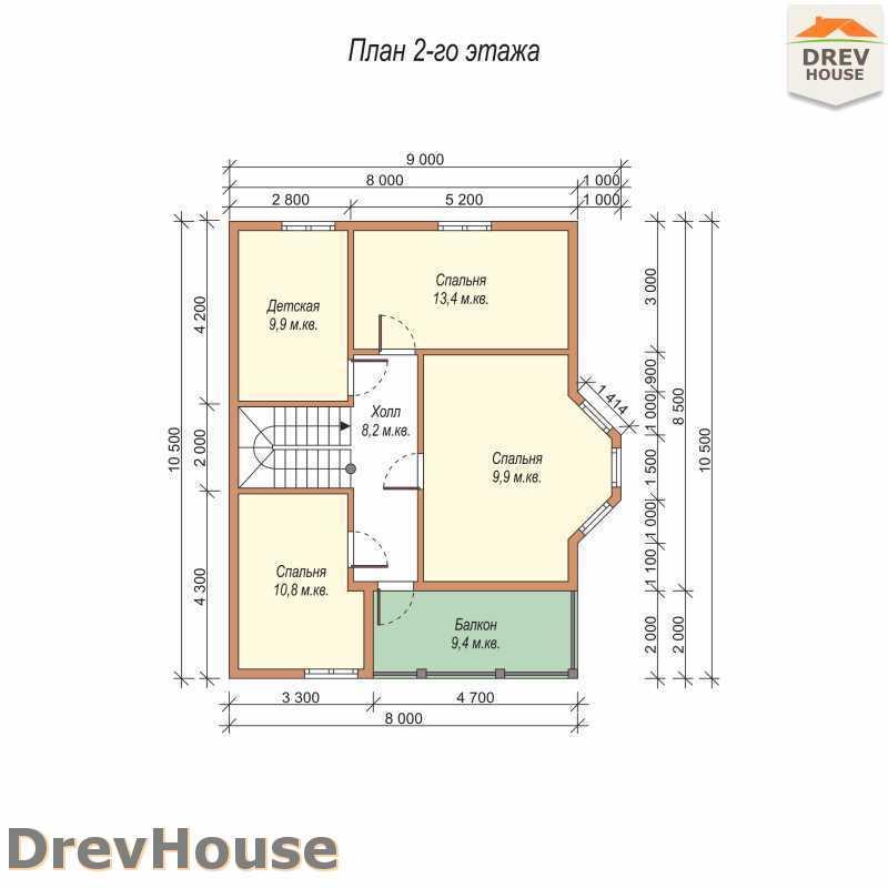 План 2 этажа двухэтажного дома из бруса ДБ-58