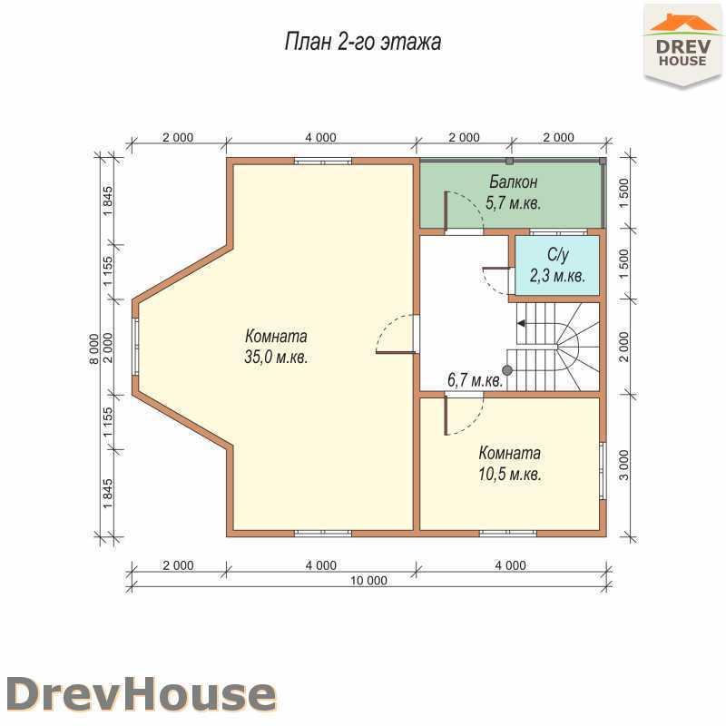 План 2 этажа двухэтажного дома из бруса ДБ-59