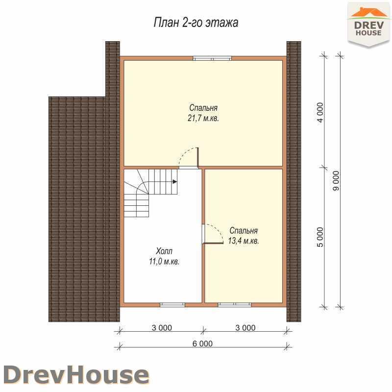 План 2 этажа полутораэтажного дома из бруса ДБ-60