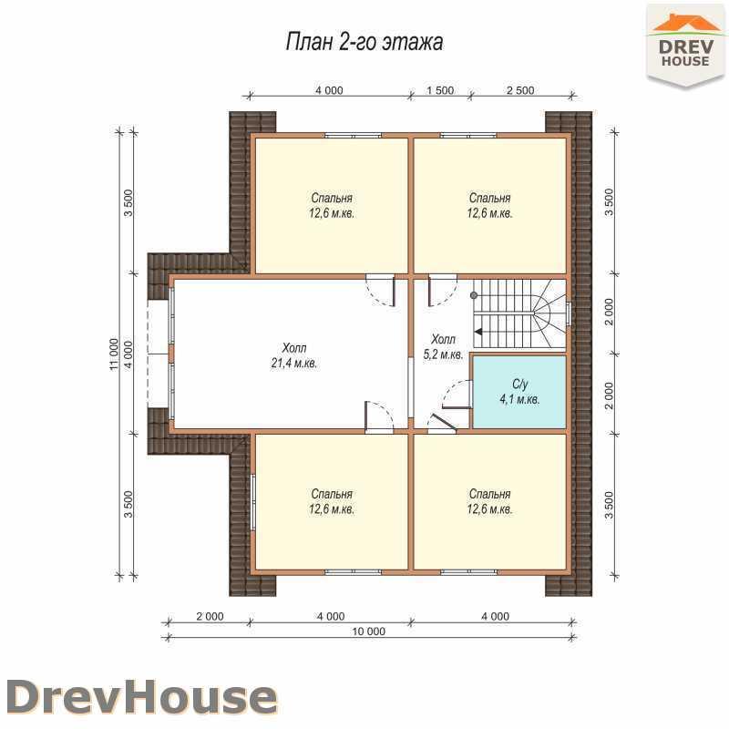 План 2 этажа полутораэтажного дома из бруса ДБ-62