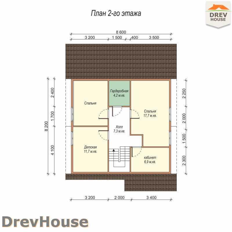 План 2 этажа полутораэтажного дома из бруса ДБ-63