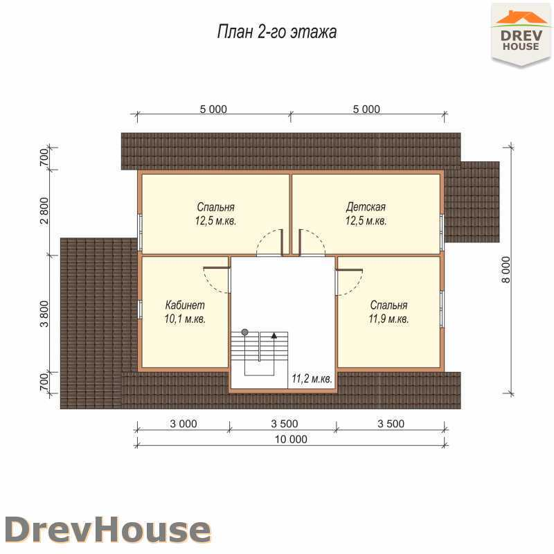 План 2 этажа дома из бруса с мансардой ДБ-65