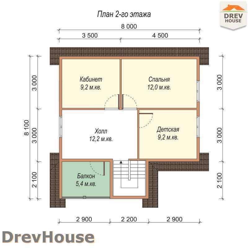 План 2 этажа полутораэтажного дома из бруса ДБ-67