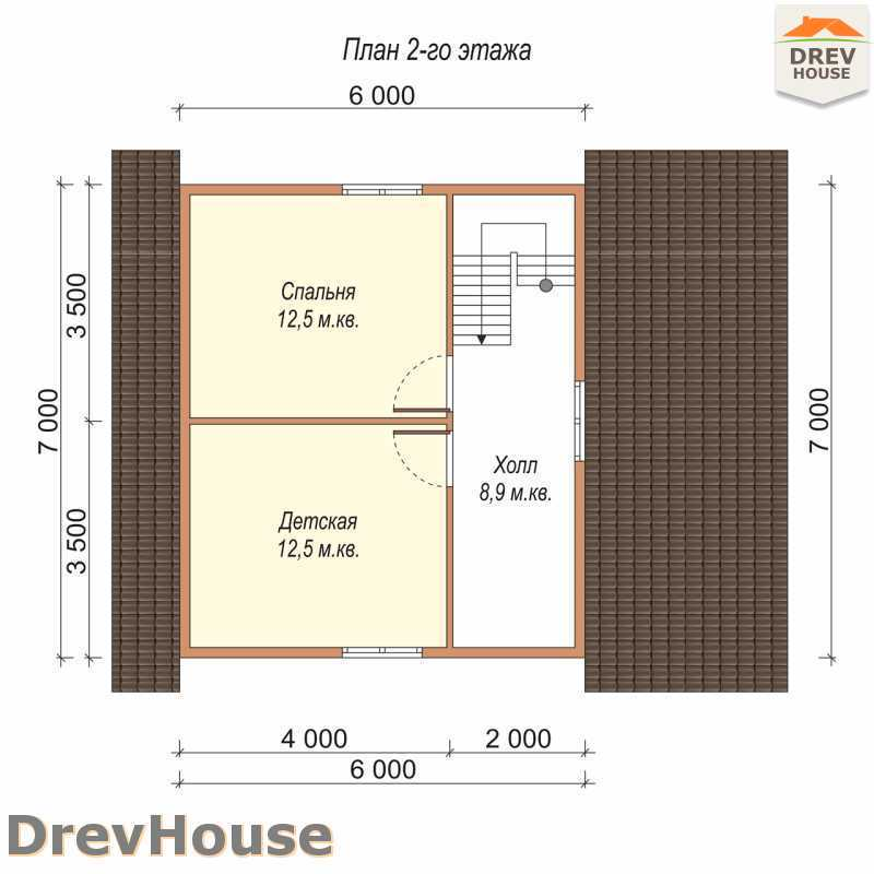 План 2 этажа полутораэтажного дома из бруса ДБ-70
