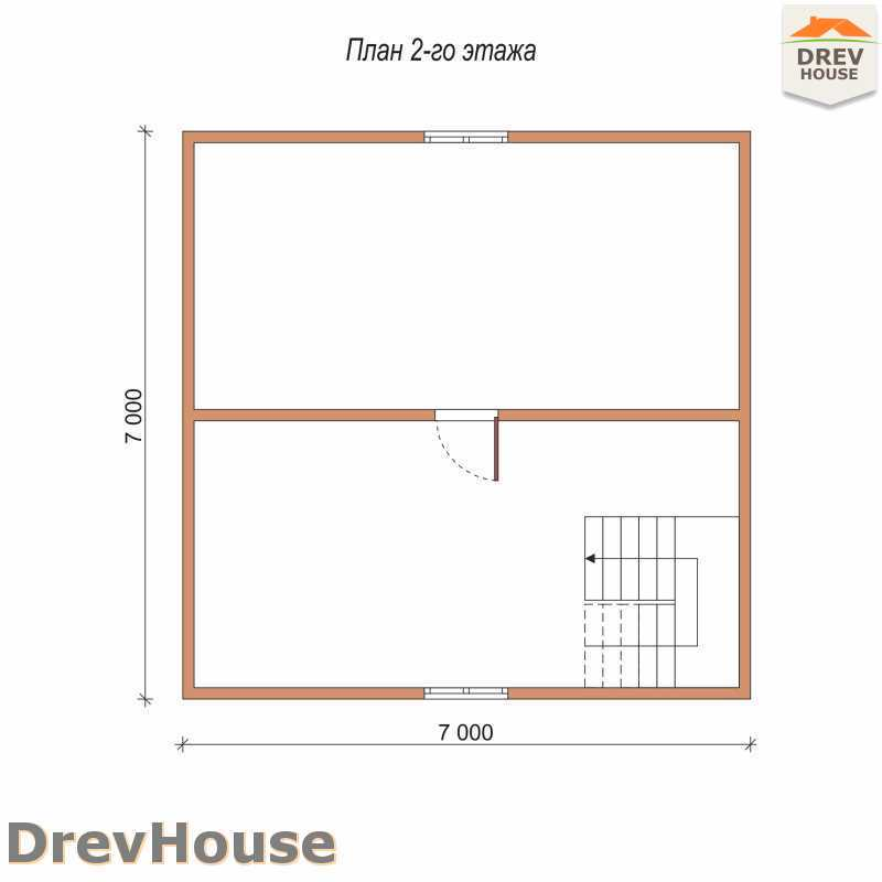План 2 этажа полутораэтажного дома из бруса ДБ-71