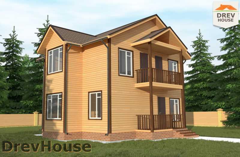 Проект двухэтажного дома из бруса ДБ 57 главное фото