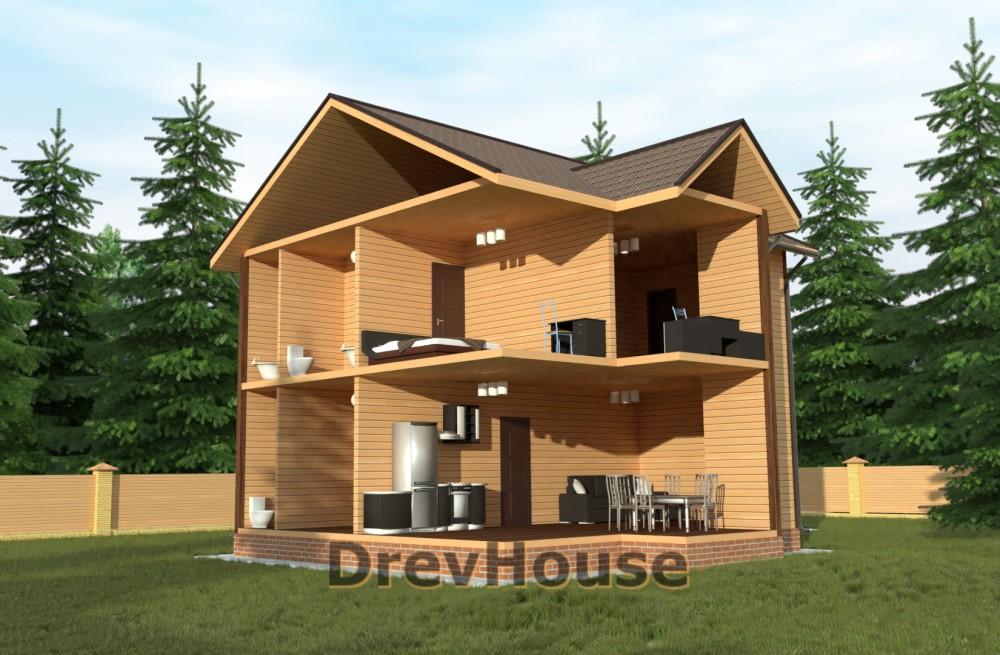 Вид изнутри проекта двухэтажного дома из бруса ДБ-57