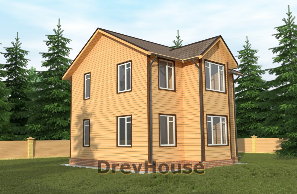 Главное фото проекта двухэтажного дома из бруса ДБ-57