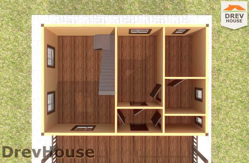 Вид изнутри 1 этажа проекта дома из бруса с мансардой ДБ-61