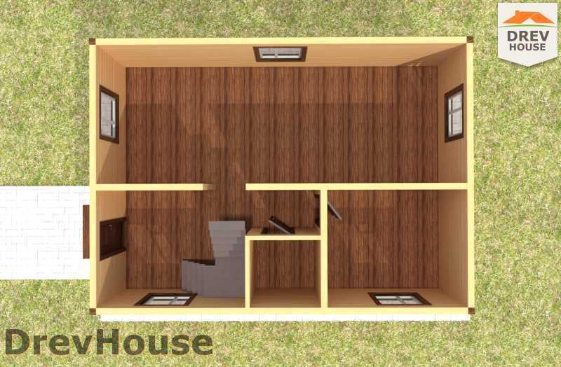 Вид изнутри 1 этажа проекта дома из бруса с мансардой ДБ-64