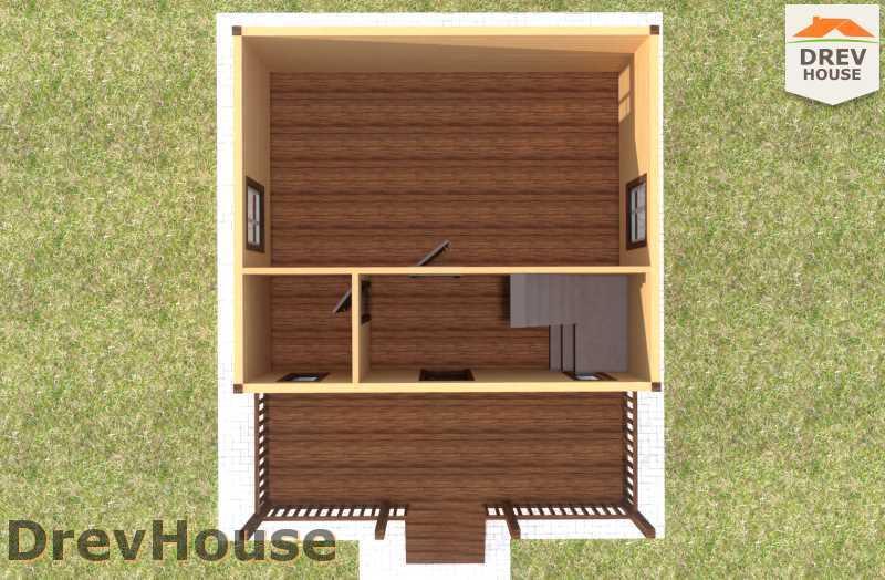 Вид изнутри 1 этажа проекта дома из бруса с мансардой ДБ-69