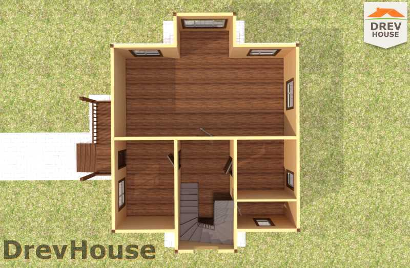Вид изнутри 1 этажа проекта двухэтажного дома из бруса ДБ-57