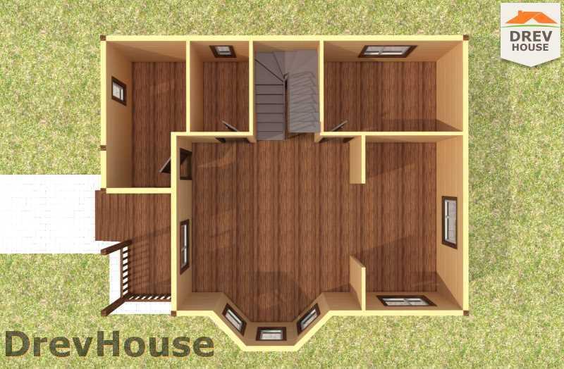 Вид изнутри 1 этажа проекта двухэтажного дома из бруса ДБ-58