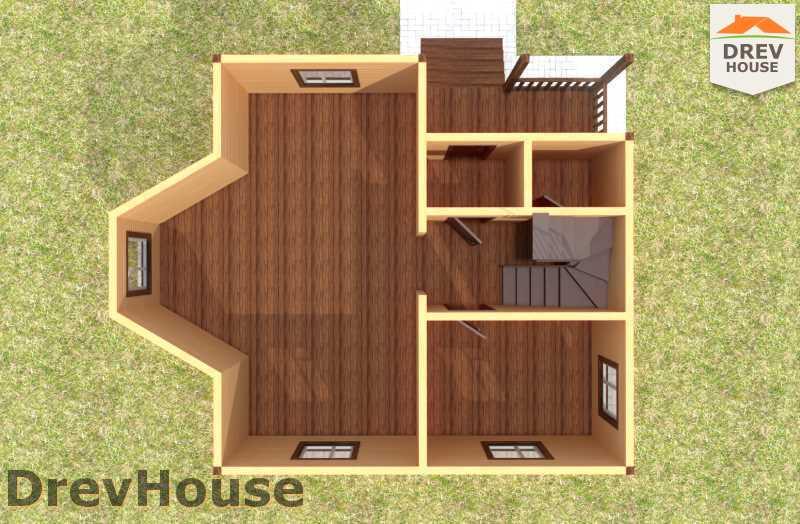 Вид изнутри 1 этажа проекта двухэтажного дома из бруса ДБ-59